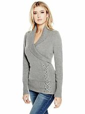 Guess Sweater Women's Shawl Collar w- Lace Up Detail Jumper Top XS or S Grey NWT