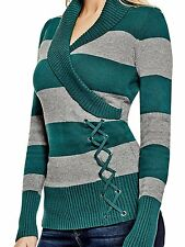 Guess Sweater Women's Shawl Collar w- Lace Up Detail Jumper Top S or M Green NWT