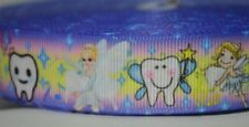 "Tooth Fairy Dentist Loose Tooth Pastel 7/8"" Printed Grosgrain Hairbow Ribbon"