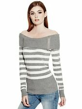 GUESS Sweater Womens Off Shoulder Top Jumper w- Zips S L Grey White Stripe NWT