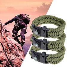 Survival Paracord Bracelet Outdoor Sports Whistle+Flint+Compass+Rope Gear Kit