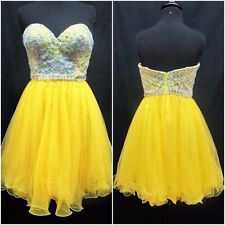 HANNAH S Short YELLOW HOMECOMING GOWN FORMAL PROM PAGEANT DRESS 4 #27897 NWT ***