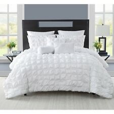 Twin XL Full Queen King Bed Solid White Pintuck Pleat 8 pc Comforter Set Bedding