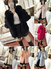 Women Winter Warm Gilet Outwear Girls Slim Faux Fur Overcoat Jacket Long Coat