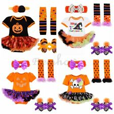 Baby Infant Girls Halloween Pumpkin Romper Outfits Costume Bodysuit Fancy Dress