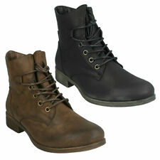SALE LADIES SPOT ON F50480 LACE UP ZIP MILITARY STYLE LOW HEEL ANKLE BOOTS SIZE