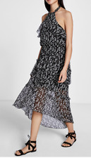 NWT Express Halter Tiered Ruffle Midi Dress Value $80 sold out SZ XS/S