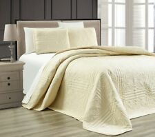 Twin XL Full Queen Cal King Bed Solid Beige 3 pc Quilt Set Coverlet Bedspread