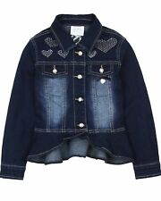 Le Chic Girl's Denim Jacket with Crystal Hearts, Sizes 6-14