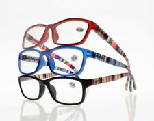 Unisex Full Rim Colorful Stripe Arms Clear Lens Reading Glasses +1.00~+4.00 New