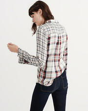 Abercrombie and Fitch Top Women's Soft Mix Plaid Shirt Blouse S White Plaid NWT