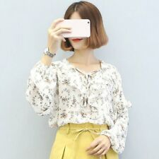 Lady Girl Chiffon Shirt Flouncing Lace Women Blouse Bowknot Front Strap FUMU