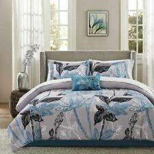 Twin Full Queen Cal King Bed Bag Gray Grey Blue Floral 9 pc Comforter Sheet Set