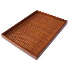 HANDMADE RATTAN WOODEN SERVING TRAY MEDIUM CHOCOLATE BROWN PLATE STORAGE CHOICE
