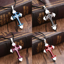 Unisex Men Stainless Steel Cross Pendant Necklace Leather Rope Long Chain Gifts