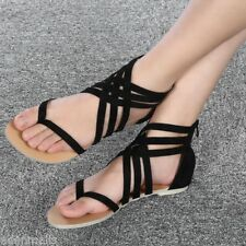 Fashion Ladies Gladiator Sandals Toe Post Strappy Zipper Flat Shoes 36-42