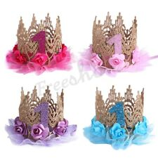 Kid Baby Sparkly Lace Rose Flower Crown 1st Princess Hat Birthday Party Headband