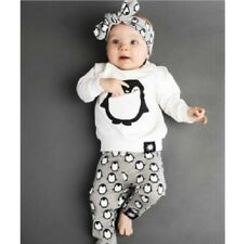 2pcs Outfits Set Infant Long Sleeve Boys Girls Toddler Baby Clothes Tops+Pants