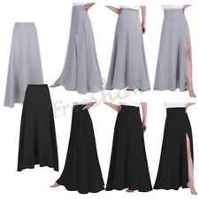 Womens Long Chiffon Dress Front Party Side Split   Pageant Bridesmaid Chic Skirt
