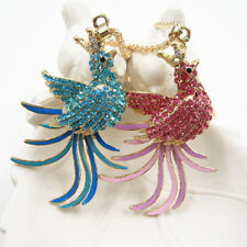Gold Plated Pink/Blue Crown Phoenix Bird Pendant Necklace Sweater Chain