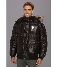 US Polo Assn Jacket Men's Thick Puffer Hooded w- Fur Trim Quilted XL Black NWT