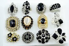 12 PC WHOLESALE Lot Black CHIC COCKTAIL COSTUME Fashion Jewelry RINGS#B1