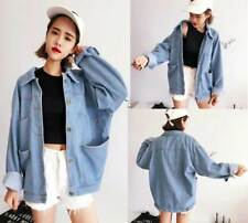 Womens Retro Korean Boyfriend Style Jacket Oversize Denim Loose Casual Jean Coat