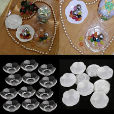 12x Clear White Plastic Flower Plate Candy Dish Wedding Baby Shower Favors 7.4cm