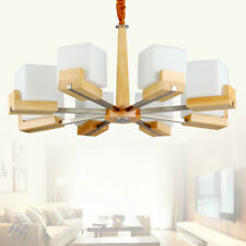 Modern Nordic Solid Wood Chandelier Ceiling Light Square Glass Chandelier