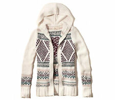 Abercrombie and Fitch by Hollister Sweater Women's Cardigan Zip Hood S Cream NWT