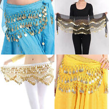 New Chiffon Belly Dance Hip Scarf 3 Rows Coin Belt Skirt AB