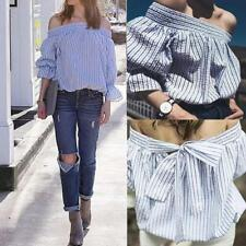 Women Off Shoulder Sexy Bow Tie T-Shirt Puff Sleeve Striped Casual Tops Blouses