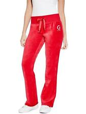 GUESS Track Pants Women's Stretch Velour Bootcut Leisure Lounge XS or S Red NWT
