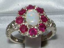 Solid English 925 Sterling Silver Ladies Large Opal & Ruby Art Nouveau Ring