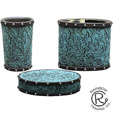 Western Turquoise Floral Brown Studs Bathroom Accessories Rustic Decor