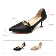 Women Red Sole Kitten Heel Dress Shoes Pumps Pointed Toe Front Strap Thin Heels