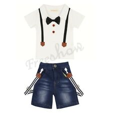 New Kids Baby Boy Gentleman Outfits Short Sleeve T-shirt Jeans Pants Clothes Set