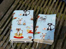 Book Cover Envelope Fabric Paperback O. Tied Books Cats, Protection with Blue