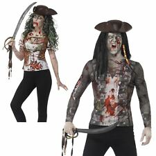 Adults Mens Ladies Bloodied SFX Zombie Pirate T-Shirt Halloween Costume Jack