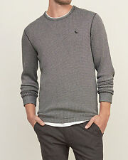 Abercrombie and Fitch T-Shirt Men's Thick Waffle Knit Tee L/S XL Grey White NWT