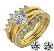 14k Gold Plated Sterling Silver Diamond Simulated Wedding Ring Set + Earrings