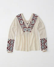 Abercrombie and Fitch Top Womens Peasant Blouse Mixed Fabric S Cream Pattern NWT