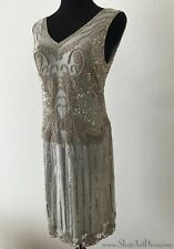Grey Beaded 1920s Flapper Dress   Hand Embellished Sequined Gatsby Gown   NWT