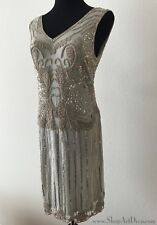 Grey Beaded 1920s Flapper Dress | Hand Embellished Sequined Gatsby Gown | NWT