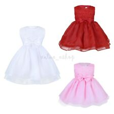 Flower Girl Bow Princess Dress Toddler Baby Kids Party Wedding Lace Tutu Dress