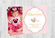 Personalised Minnie Mouse, First Birthday, Birthday Invitations, Photo Invites