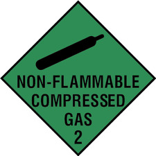 Non-Flammable Compressed Gas 2 Signs - self adhesive vinyl & plastic options