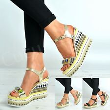 New Womens Studded Glitter Wedges Ladies Ankle Strap Platform Sandals Shoes Size