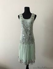 Mint Green 1920s Flapper Dress | Beaded Sequin Gatsby Gown | NWT