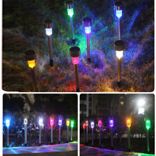 10pcs Outdoor Stainless Steel Solar Power RGB LED Garden Landscape Path Pathway